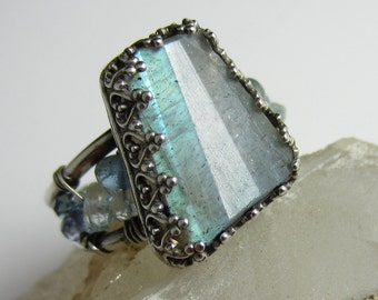 Blue Fire Ring - Sterling Silver with Aquamarine, Topaz and Labradorite