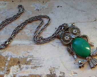 FREE SHIPPING Vintage Owl Metal Necklace with Google Eyes and Green Cabachon Belly