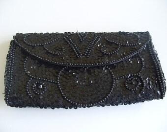 Vintage Black Sequin Clutch Purse Handbag Made in Japan