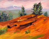 Central Oregon, Original Landscape Oil Painting, Mountain, Lava Butte, Trees, Red Green, Evergreen, Volcano, Small 8x10 Canvas, Wall Decor