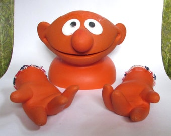 Vintage Ernie the Hand Puppet Orange Rubber Head and Hands only, Sesame Street Muppets, 70s