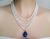 Wedding Statement Necklace, Pearl Necklace with blue pendant, Emerald and Pearl Bridal Necklace, Sapphire Wedding Jewelry for Brides  CORA