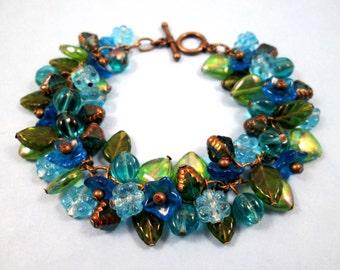 SALE - Flower Charm Bracelet, Beyond the Garden Gates, Blue Green and Brass Charm Bracelet, FREE Shipping U.S.