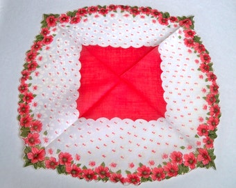 Vintage Handkerchief - Red and White Floral - Scalloped Edge - Unusual Shape