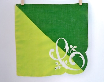 Beautiful Vintage Monogram C Handkerchief - Two Shades of Green