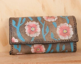 Oversize Wallet - Large Wallet - Checkbook Wallet - Womens Wallet - Aurora Pattern with flowers and vines - white, pink, turquoise