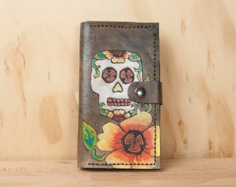 iPhone 6 Plus Case Wallet Leather - Sugar Skull iPhone Case in the Vesa Pattern - Handmade for iPhone 5, 6, 6+, SE, 7 or 7+