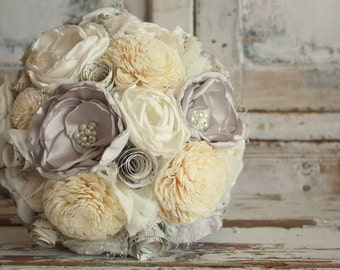 Gray wedding bouquet, Gray and ivory fabric flower bridal bouquet, Sola flower wedding bouquet, custom made in any color