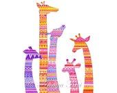 Giraffe Art - Giraffe Print - Giraffe Painting - Nursery Art - Giraffe Nursery - Nursery Room Decor - Baby Room - Giraffe Baby