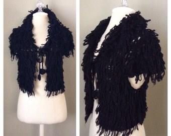 Vintage 70s crochet shrug cardigan / goth / lolita / club kid / hippie