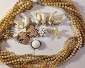 White Destash Charms and Beads Vintage