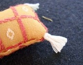 One Dollhouse Miniature Gold, Orange and Off-White Pillow (Rectangular with Tassels)