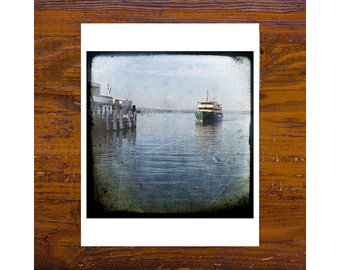8x8 Print [JCP-103] - Ferry coming into Manly wharf, blue, water, sydney, australia
