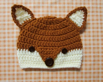 Qty.6  Wholesale / Crocheted Fox Hat for Newborn, Infant or Toddler for Photo Prop