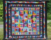 Full Sized Quilt in Colorful Triangles