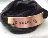 Personalized Memorial Bracelet, Purple Green Silk Ribbon Wrap, aluminum or copper bar with hand dyed ribbon, 30 character max, 15 per line