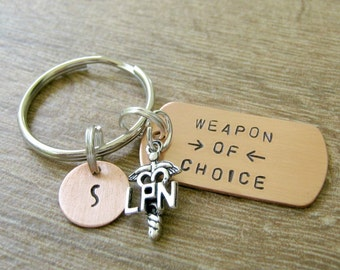 Nurse Keychain, Nursing Keychain, Nurse's keychain, Nurse gift, gift for nurse, choice of RN, LPN, CNA, or np charm, optional initial disc