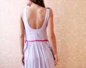Lavender Crepe de Chine Dress with Pink Waist Band and Flounces (Sample Sale)