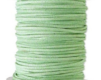 Faux Suede Leather Cord Lace Lime Green Soft Cotton 3mm wide for necklaces and bracelets, 10 or 25 ft.