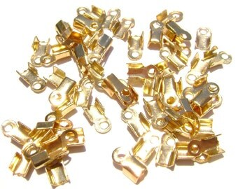 Cord Ribbon End Tip Fold Over Clasp Crimp Bead Stopper Shiny Gold Small 5x3mm (3x2mm workspace)  - 100 Qty
