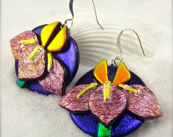 Iris flower jewelry, iris earrings, dichroic earrings, glass earrings, flower jewelry, handmade women's, one of a kind, wedding gift, fusion