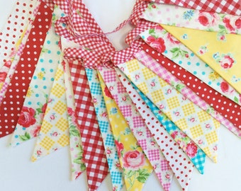 Double Length Bunting Flag Banner, 2 Sided Flags. Shabby Chic Designer Cotton Fabrics by Lecien Weddings, Girl's Room, Birthday Party Decor.