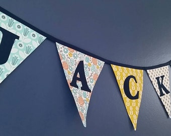 Personalization for your Banner hand cut fabric letters DO NOT forget to order your ACTUAL banner, this if for the upgrade of letters only.