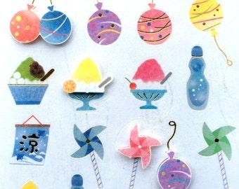 Cute Japanese Stickers Summer Theme Chiyogami Paper Stickers (S122) Water Balloons Kakigori