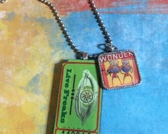 Sci-Fi   SYFI, Aliens, space, altered art charm necklace   jewelry  handmade  one of a kind  bostoncharm, geek jewelry