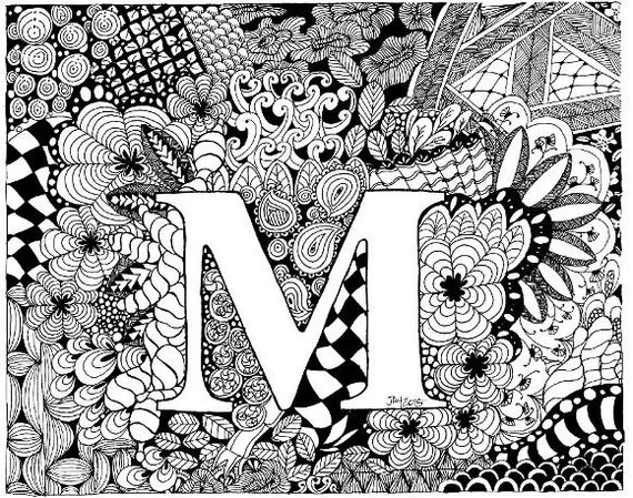 Letter M Complex adults colouring Page instant download