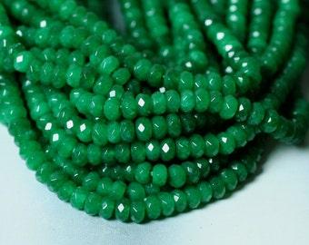 Candy jade faceted rondelle emerald green 4mm, 36 pcs (item ID CJFRNDG6m)