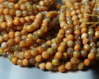 Agate faceted round aprox 6mm chocolate 15-inch strand (item ID YWAYR6)