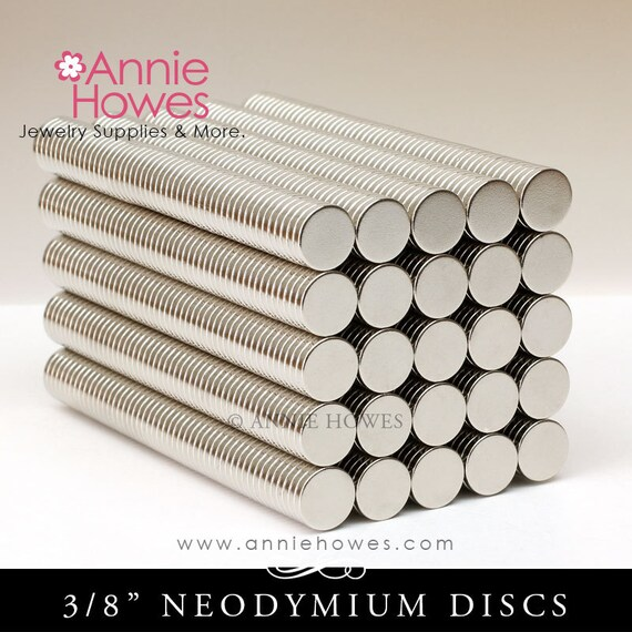 50 Neodymium Magnets - SMALL 3/8 Inch Diameter . Super Strong Skinny Magnets. AH-3/8MAG-50