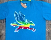 Pegasus rainbow batik men hand drawn hand painted hand dyed individually eco friendly turquoise blue -festival clothes-