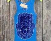 Hamsa batik yoga eco friendly  ribbed tank women blue hand of fatima hand drawn hand painted hand dyes - yoga clothes -
