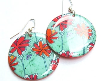 African Flowers Large Resin Earrings in teal, hot pink, light blue and red