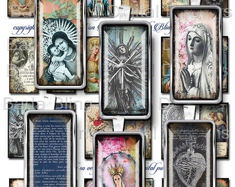 1 X 2, Catholic Prayer Cards &  Holy Cards, sheet 2...  INSTANT DOWNLOAD at Checkout, soldered pendants, dominos, Catholic images