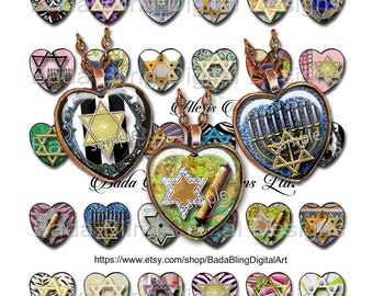 25mm hearts,Star of David, Torah and Menorah, religious collage sheets, for Jewish pendants, INSTANT Download, heart pendants,hearts