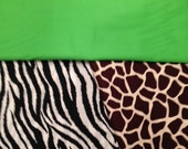24 giraffe/zebra  lime green  CHAIR POCKETS    Sturdy Durable Cotton Twill