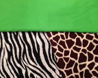 24 giraffe/zebra  lime green  CHAIR POCKETS    Sturdy Durable Cotton Twill