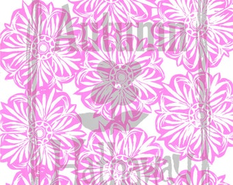 Digital Paper INSTANT DOWNLOAD Pink Starburst Designed From a Hand Carved Stamp / All artwork is Copyright © Autumn Hathaway  8.5x11