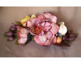 Autumn rustic woodland bridal floral barrette boho fall hair flowers bohemian bride flower clasp renaissance faerie harvest