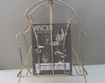 Vintage Magazine Rack, retro mid century modern magazine rack, newspapers books gold metal wire rack, 1960s
