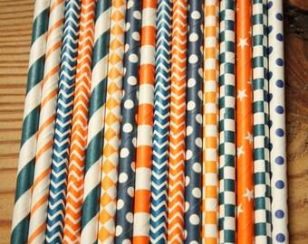 Orange, Navy Straws, Paper Straws, Party Straws, Orange Navy Party, Orange Shower, Navy Birthday, Orange Wedding, Navy Reception, stripes