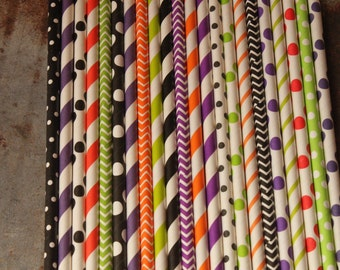 Fun Halloween Theme Straws - Party Straws -- orange, purple, lime green, purple -- trick or treat party -- kids celebration