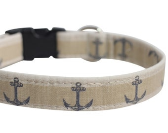 Nautical Dog Collar - Rustic Anchors, Personalization Available