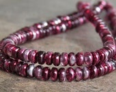 3mm Mirror Cranberry Czech  Glass Bead Rondelle Spacer : 100 pc Cranberry Rondelle Beads