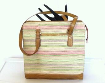 Vintage Striped Canvas Shoulder Bag Purse Multi Pocket  Organizer By Liz Claiborne