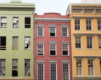 Sage Green Red Yellow Architecture Photo, New Orleans Wall Art, Urban Photograph, Windows Photo, Buildings Photograph, New Orleans Photo
