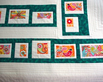 Modern Contemporary Quilted Wall Hanging, White, Green, Orange, Birds, Flowers